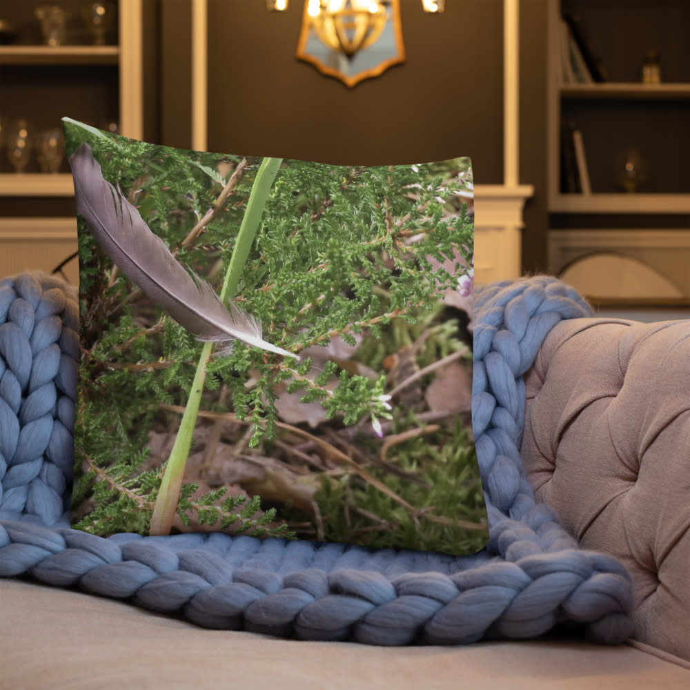Floating Feather Pillow mockup Front Lifestyle 3 Indoors Lifestyle 22x22