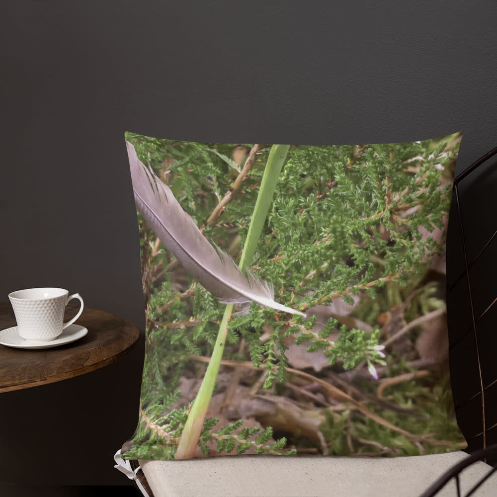 Floating Feather Pillow mockup Front Lifestyle 3 Outdoors Lifestyle 18x18
