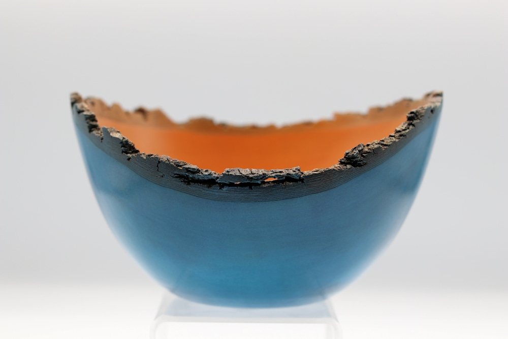 Handturned Natural Edge Blue and Orange Pear Wood Bowl