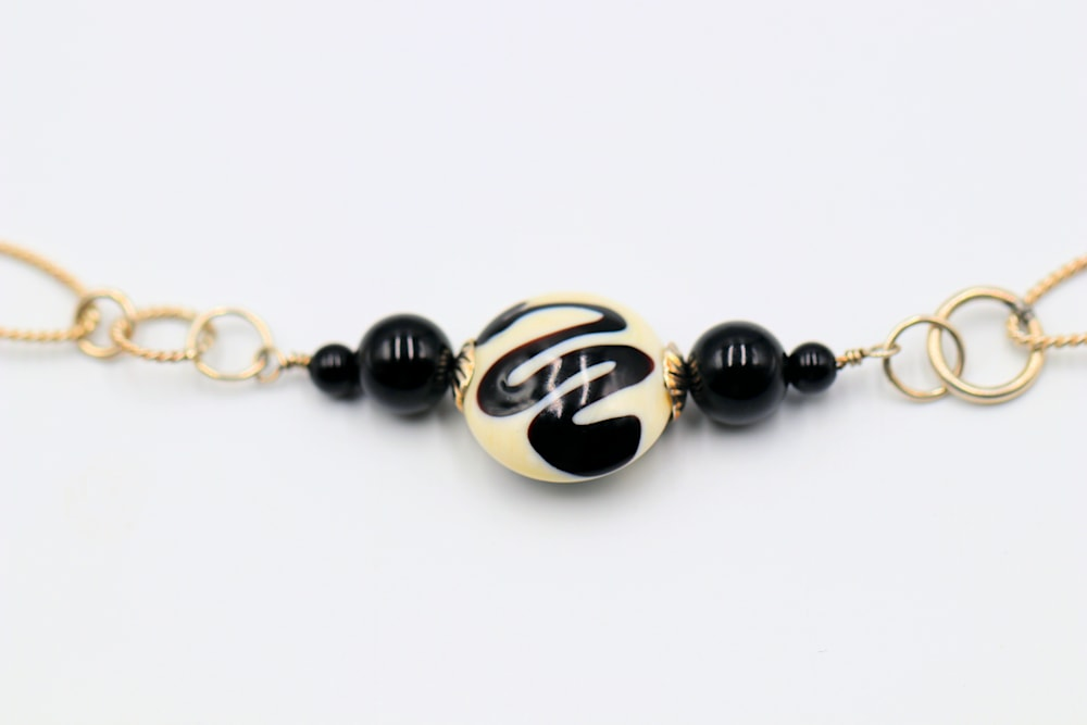 Lampwork Glass Bead Onyx on Sterling Necklace Jessica Mayes