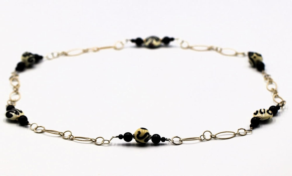 Lampwork Glass Bead Onyx on Sterling Necklace Jessica Mayes $120 1 1