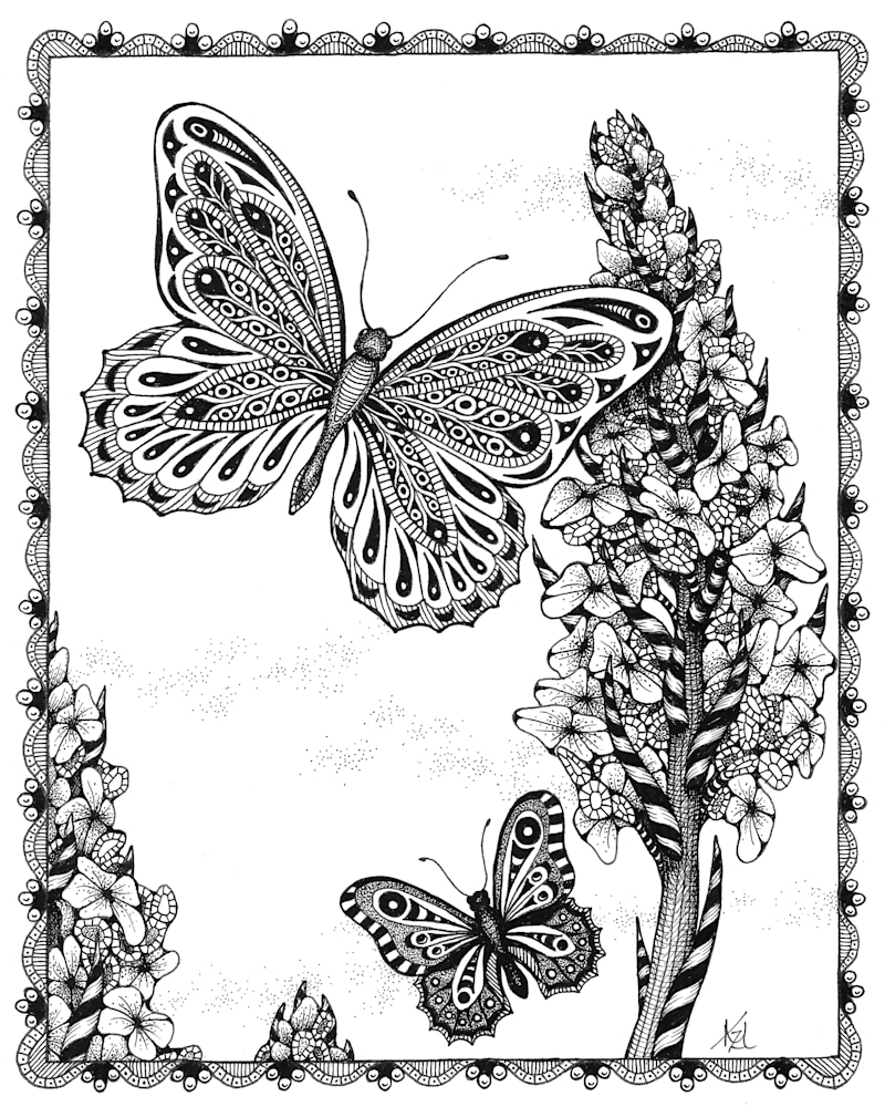 butterflies & Hollyhocks