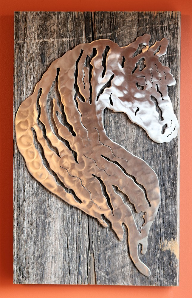 Horse Silhouette on Reclaimed Barn Wood $120 Jessica Mayes