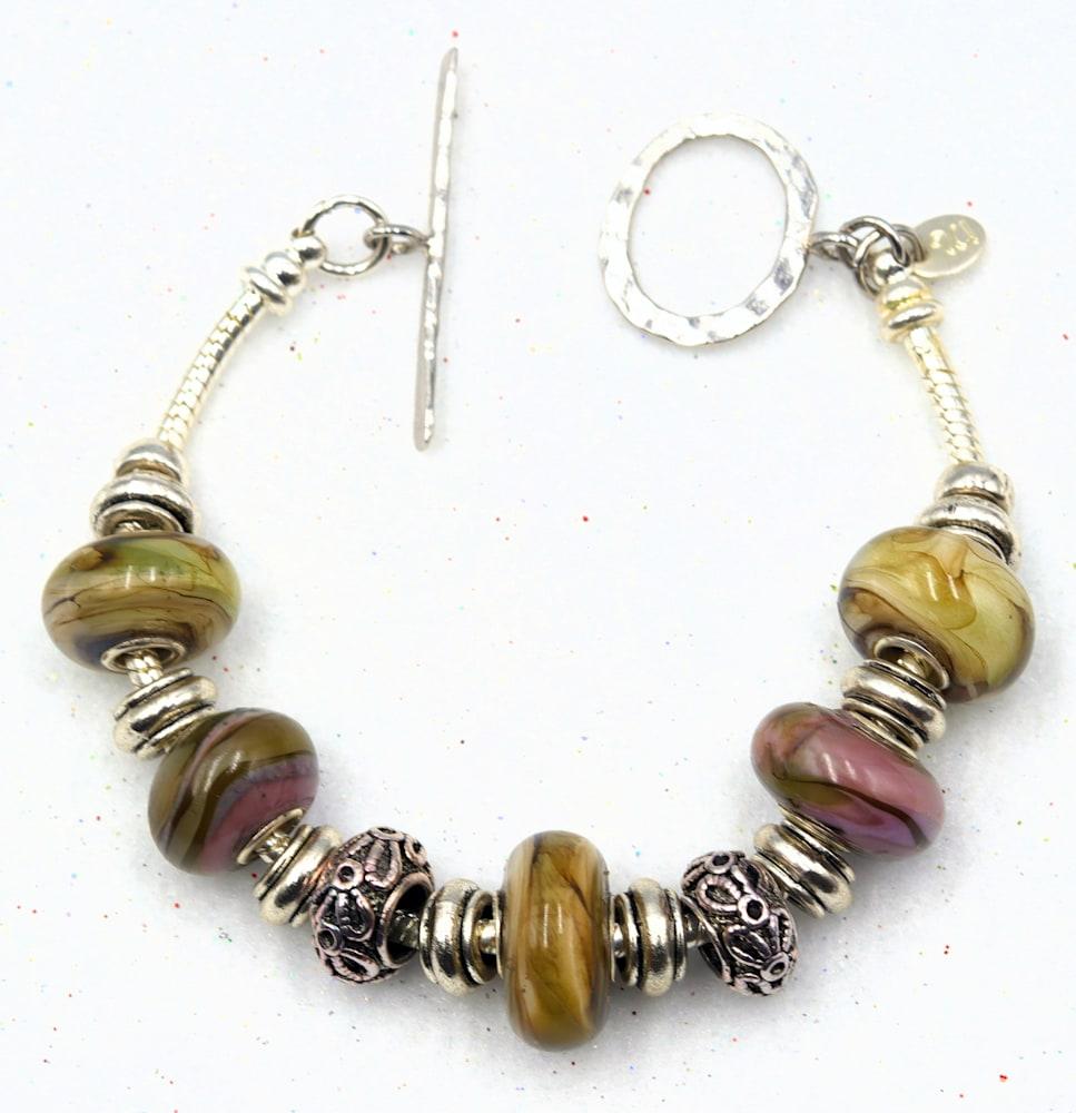 Lampwork glass bead bracelet $49