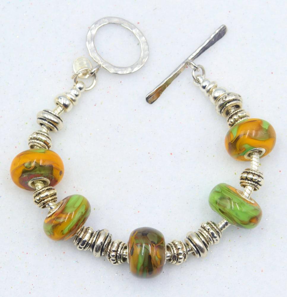 Mark Lenn Johnson Lampwork glass bead bracelet $49