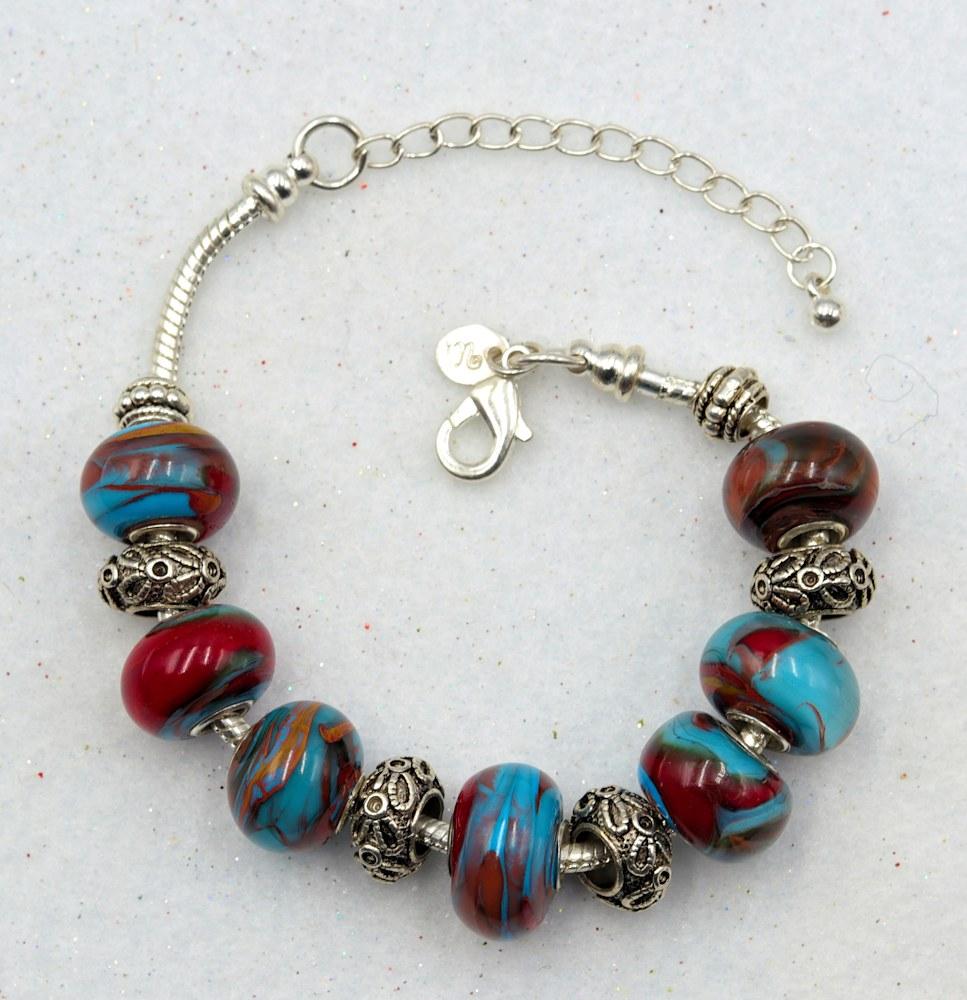 Mark Lenn Johnson Lampwork skyblue red glass bead bracelet $49