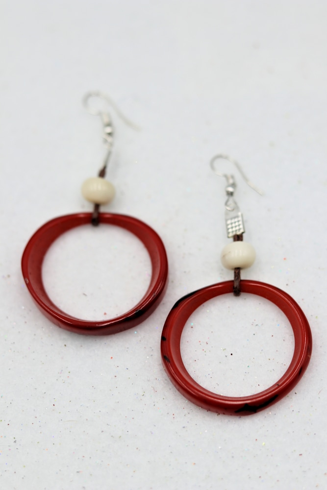 Rosario Jaramillo Tagua Nut Jewelry Necklace Earrings Red $42