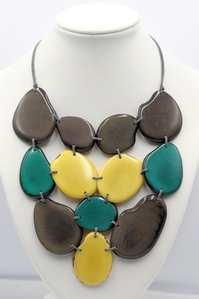 Rosario Jaramillo Tagua Nut Jewelry Necklace Green Gray Yellow $38