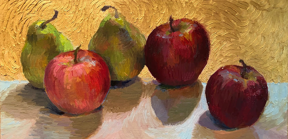 Collymore Still life with apples, pears and gold 1000