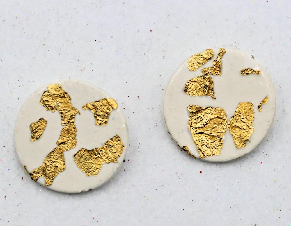Handmade white gold polymer clay earrings $15