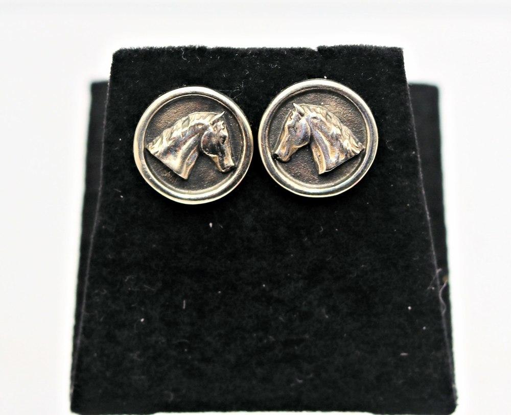 Stephen Johnson Sterling Silver Horsehead Post Earrings High Polish Finish $125