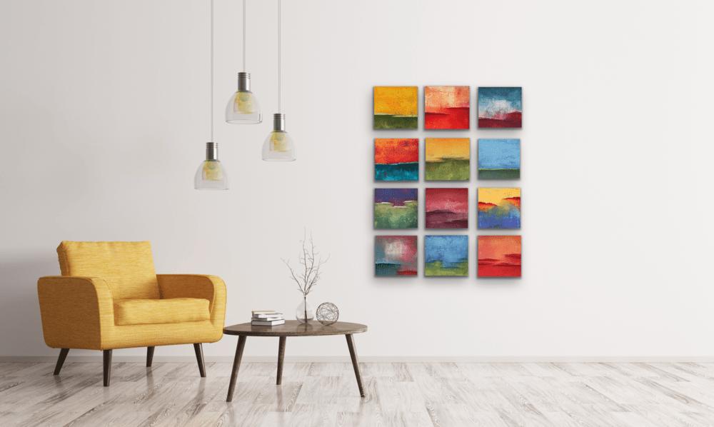 Twelve 8x8 on wall 1