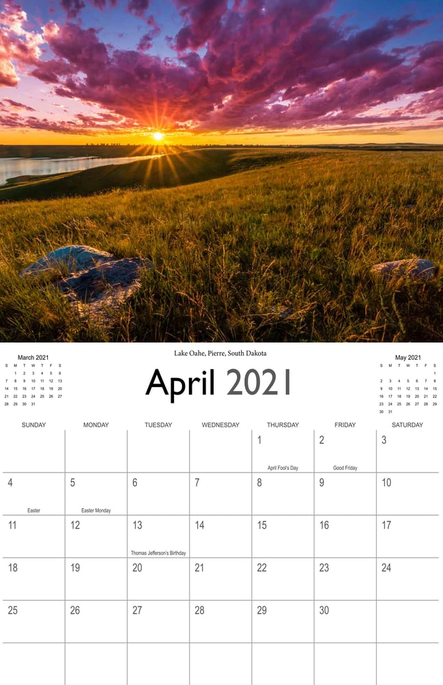 2021 Sunrises and sunsets calendar April