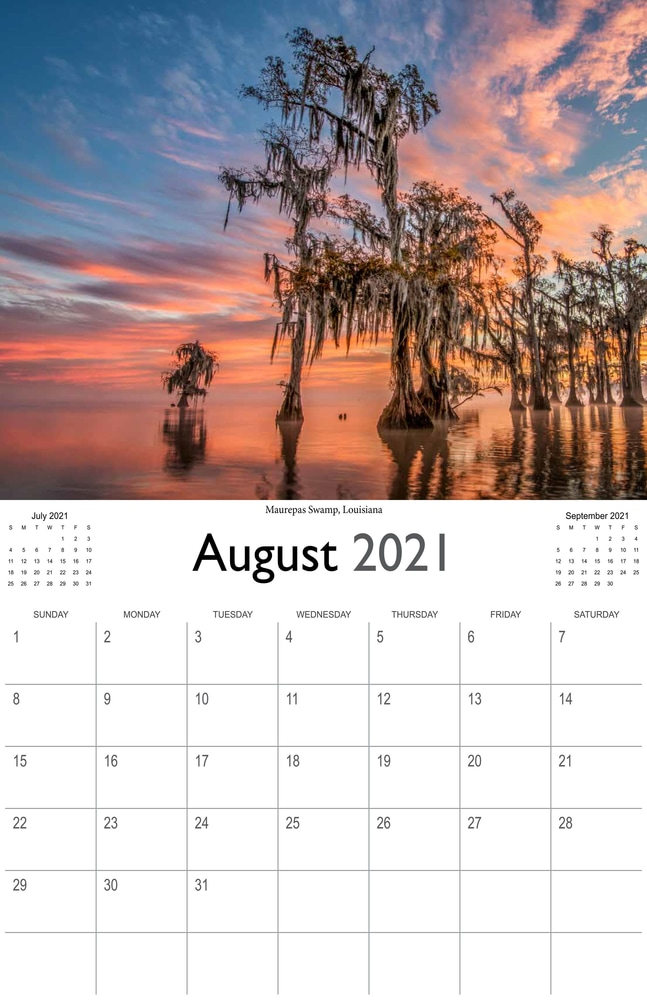 2021 Sunrises and sunsets calendar August