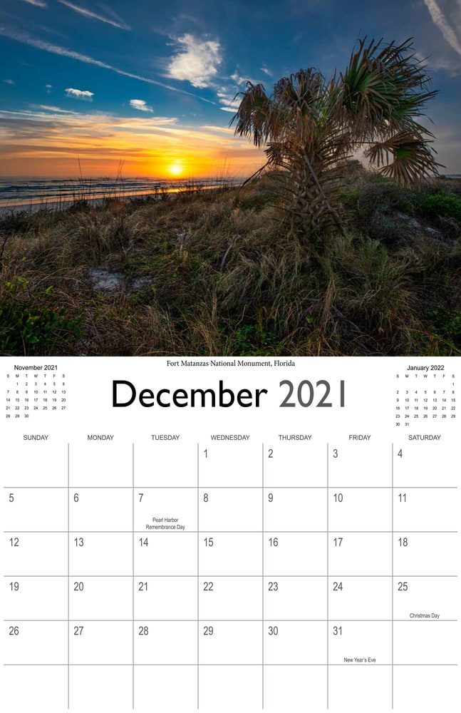 2021 Sunrises and sunsets calendar December