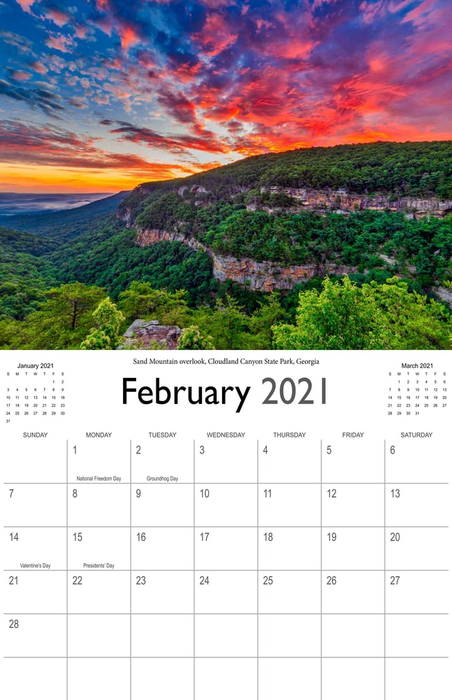 2021 Sunrises and sunsets calendar February