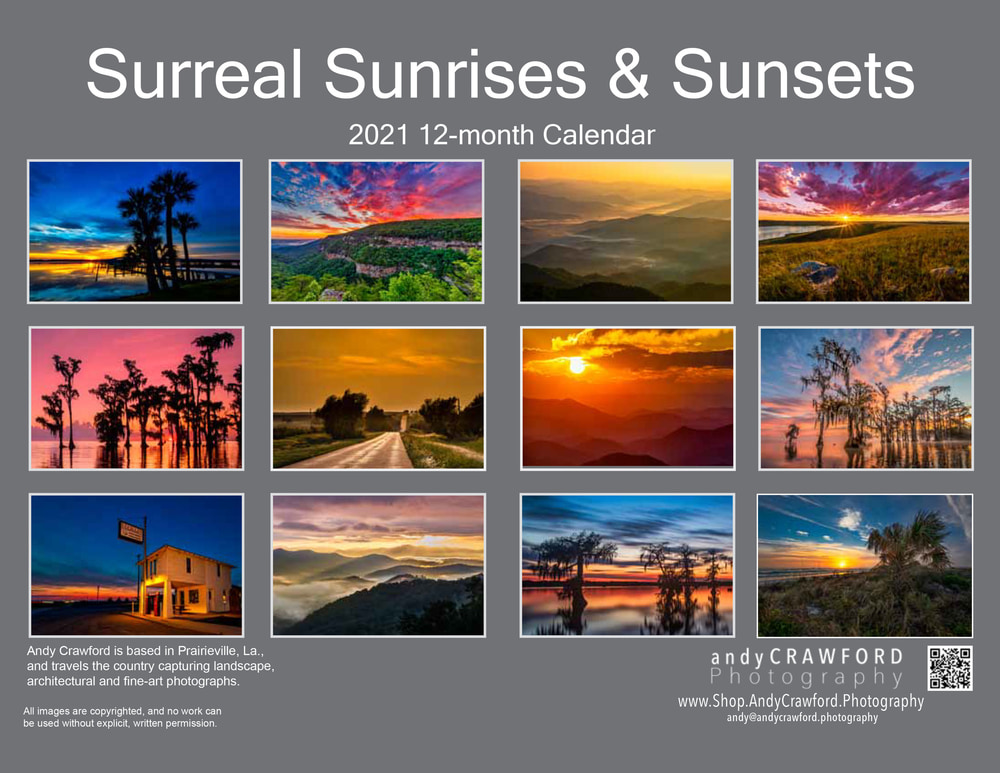 2021 Sunrises and sunsets calendar back cover