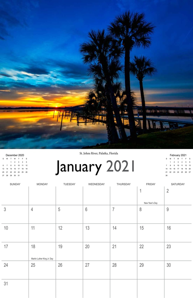 2021 Sunrises and sunsets calendar January