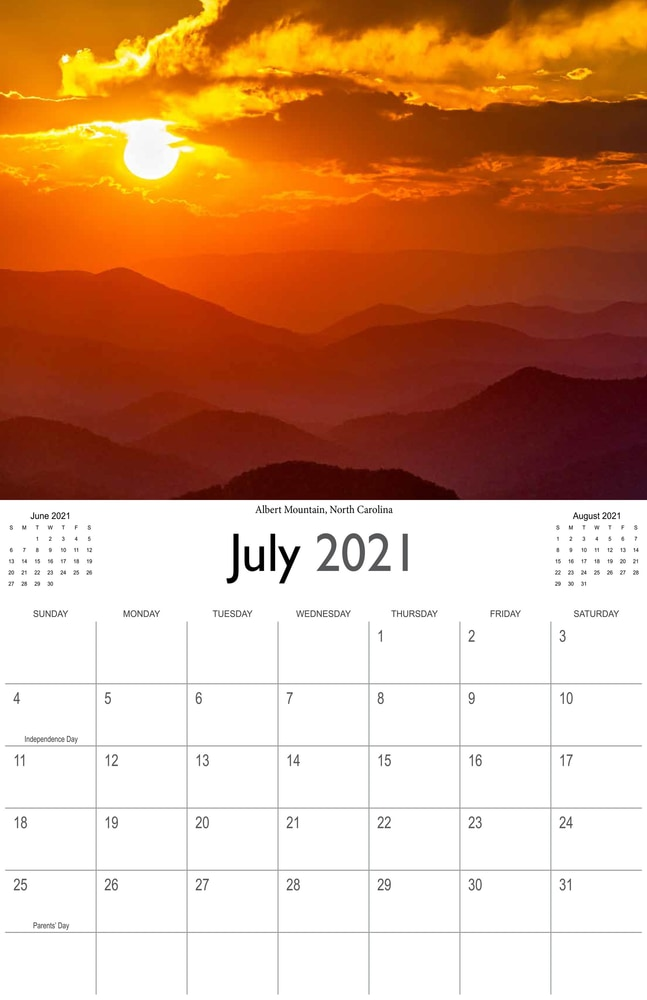 2021 Sunrises and sunsets calendar July