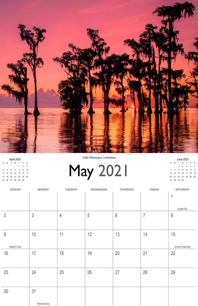 2021 Sunrises and sunsets calendar May