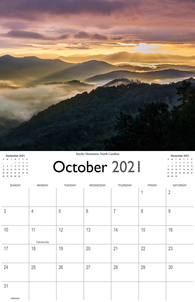 2021 Sunrises and sunsets calendar October