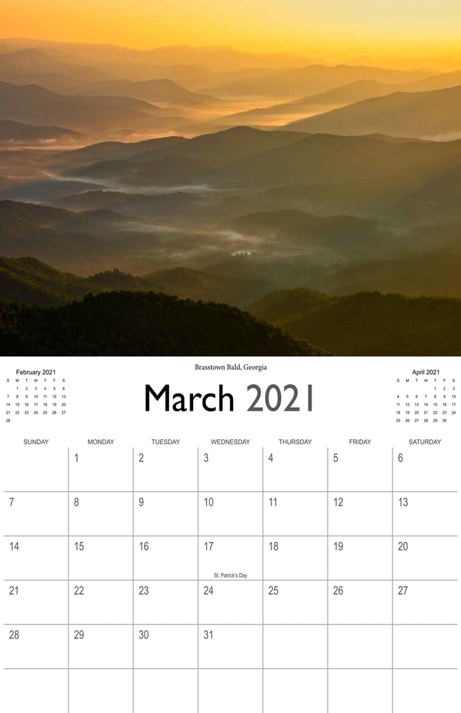 2021 Sunrises and sunsets calendar March