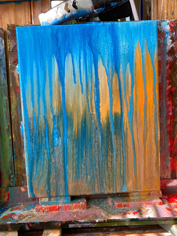 Still dripping in process on the easel