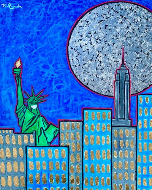Statue of Liberty Covid mask painting paul zepeda