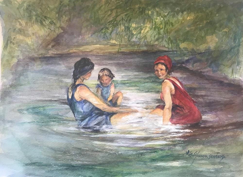 Beauties Bathing 9x12 watercolor Lindy Cook Severns