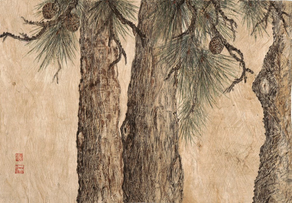 Three Pine on Bark
