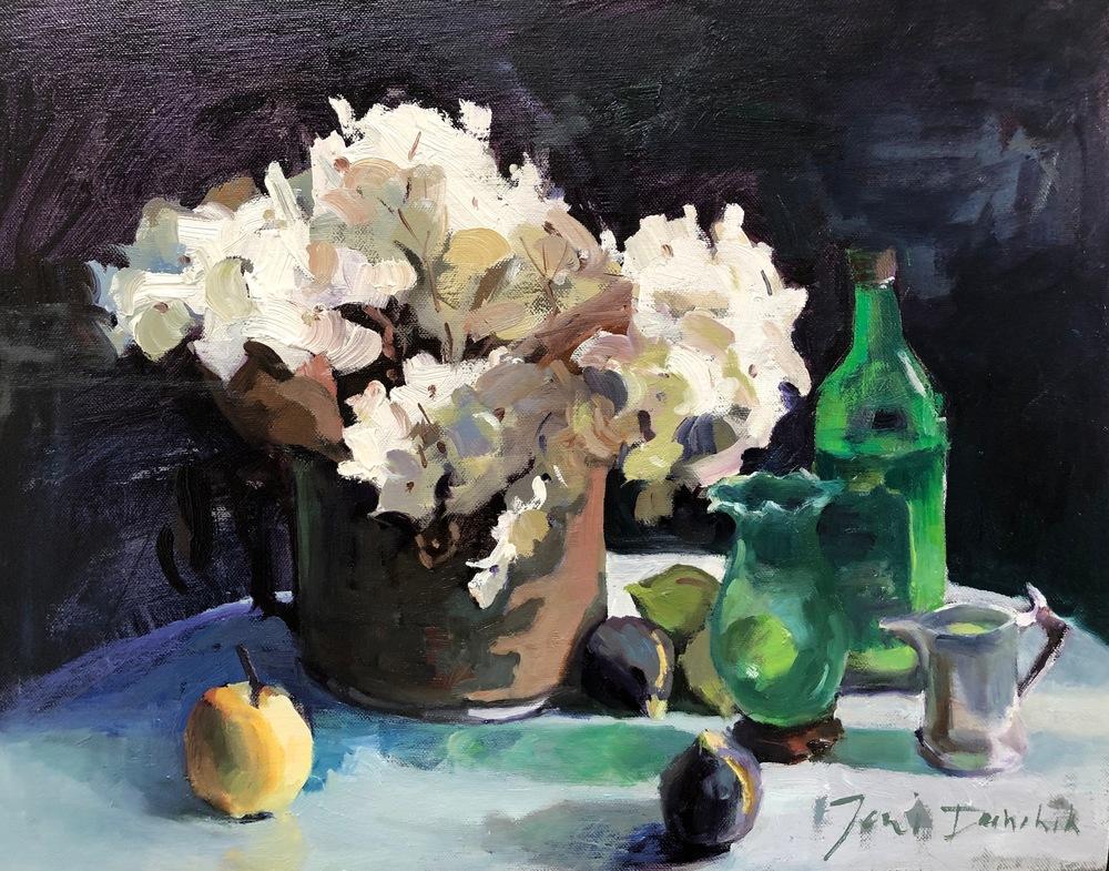 HYDRANGEAS w Green Vases 18 x 24