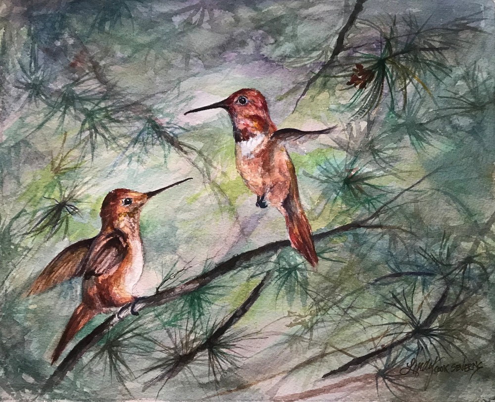 Comparing Wing Spans 8x10 watercolor Lindy Cook Severns