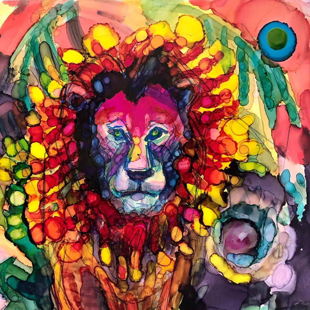 Ready To Roar 3, alcohol ink on panel, 6x6