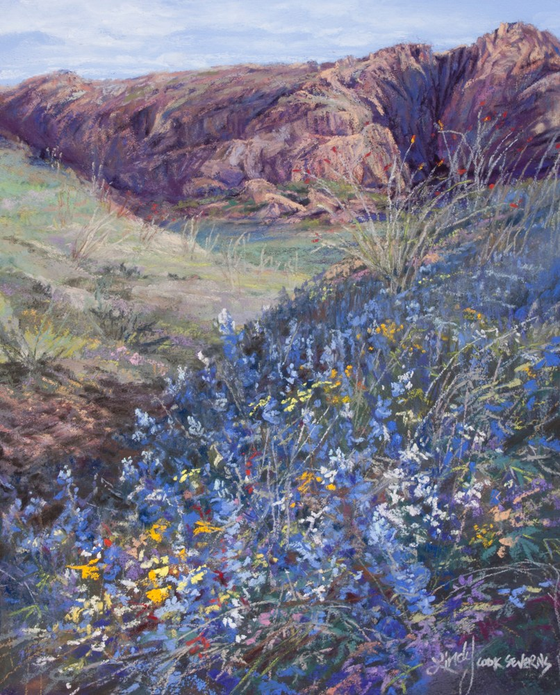 8D15 Bursting With Bluebonnets 10x8 pastel by Lindy C Severns  Edit
