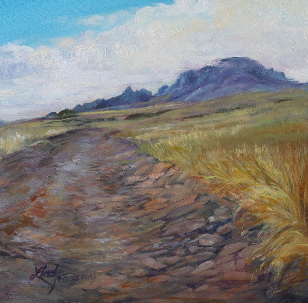 27G15 The Rocky Road to Chinati 6x6 oil Lindy C Severns Edit