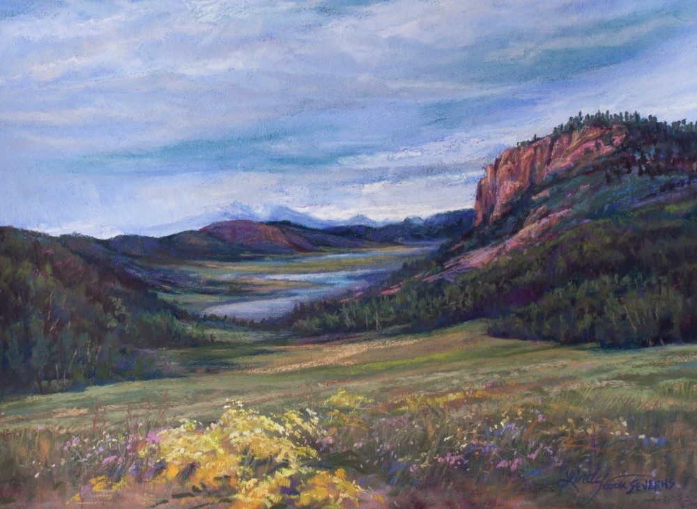 High Summer on the Rio Grande 9x12 pastel Lindy C Severns