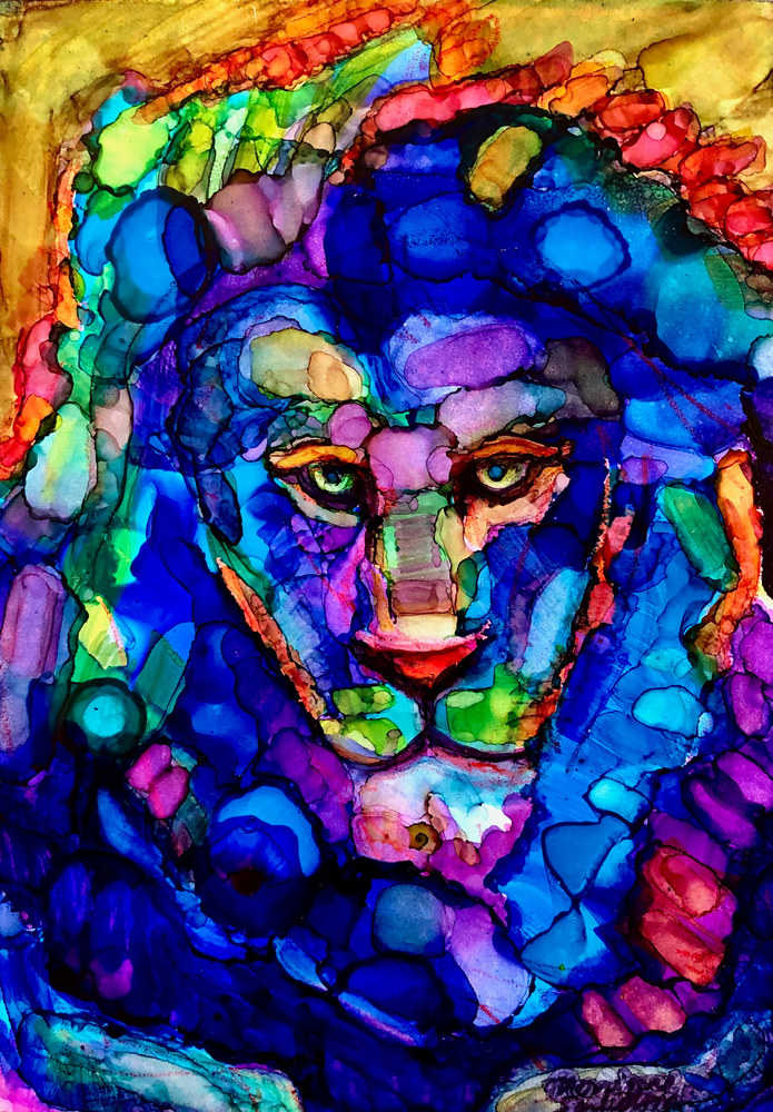 Ready to Roar 9 final, alcohol ink on panel, 7x5