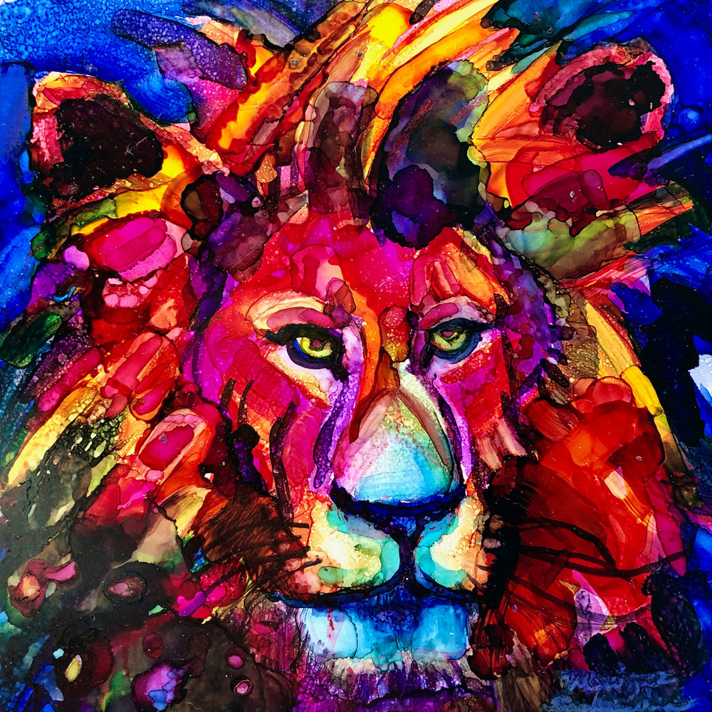 Ready to Roar 4, alcohol ink on panel, 6x6