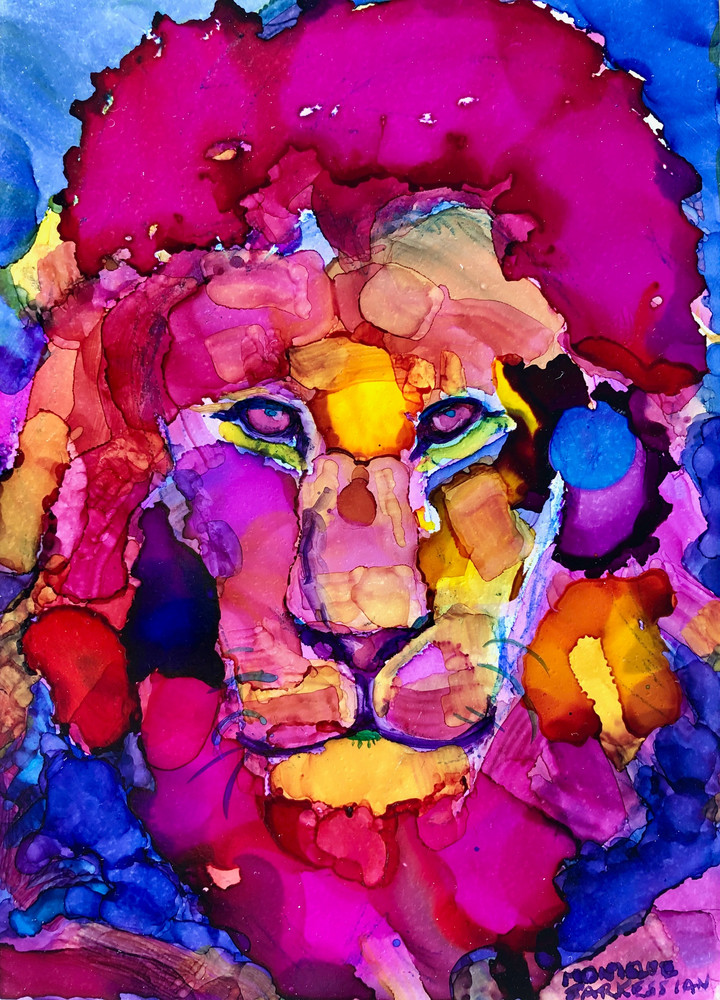 Ready to Roar 8 s, alcohol ink on panel, 7x5