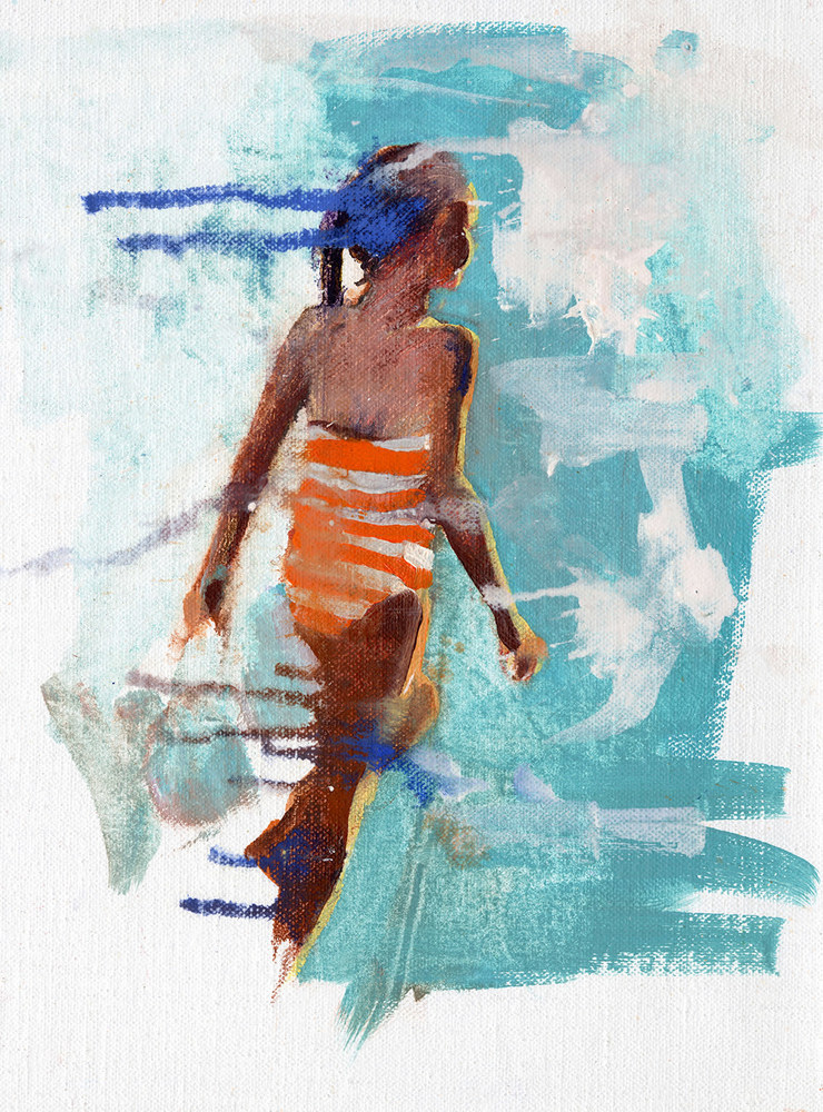 Sundown beach girl
