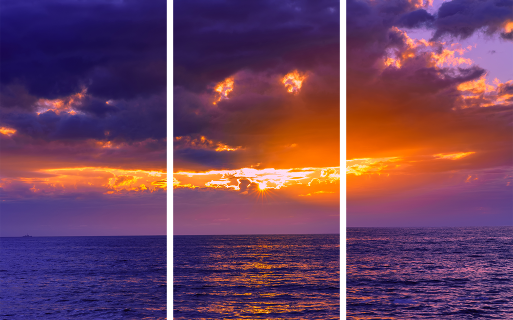Sunset Cliffs Purple Triptych
