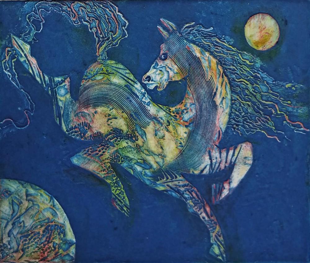 Blue green horse copy