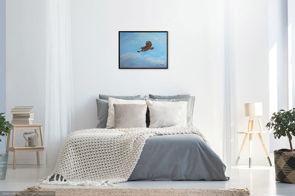Red Tail Hawk in Bedroom