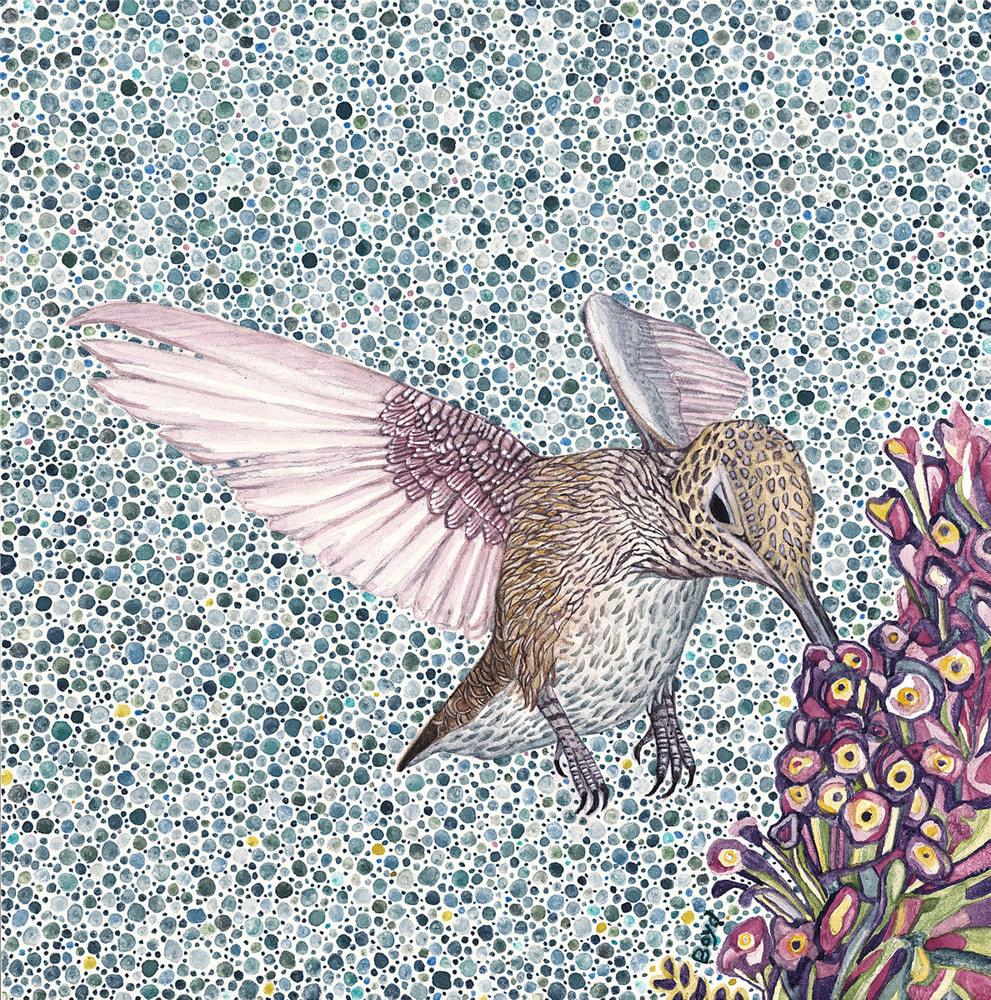 Hummingbird with purple flower 300