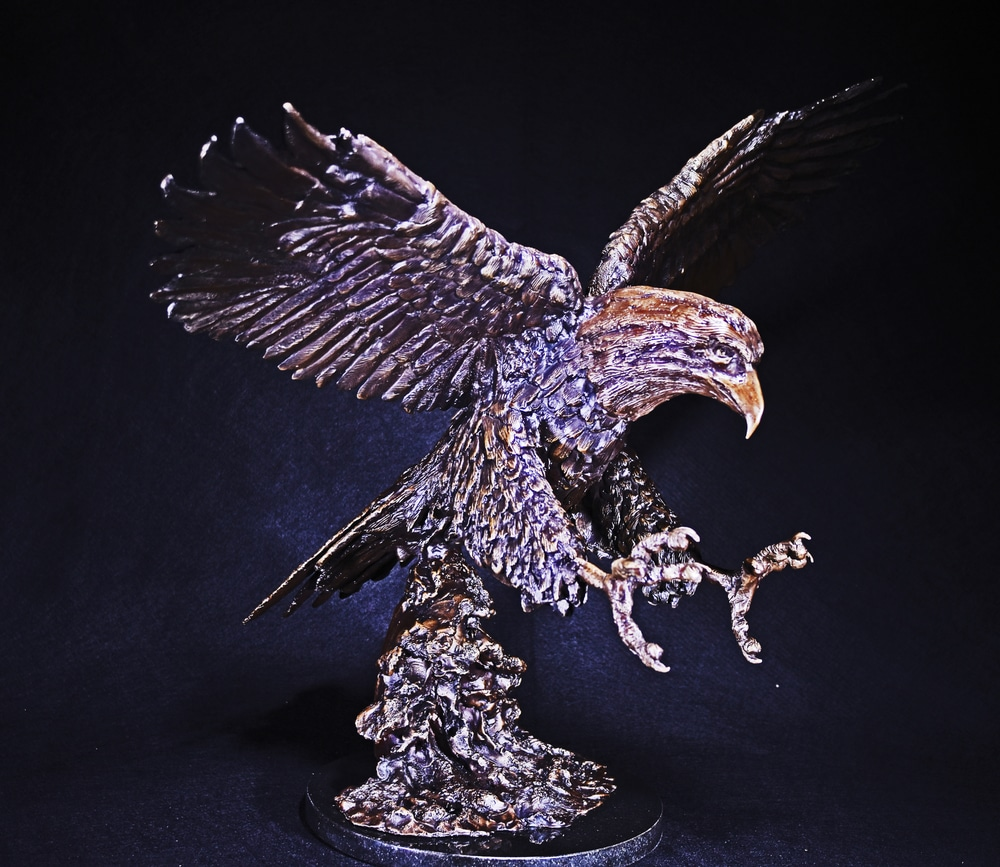 On Eagle's Wings - Cast Bronze Sculpture by Eduardo Gomez - Right