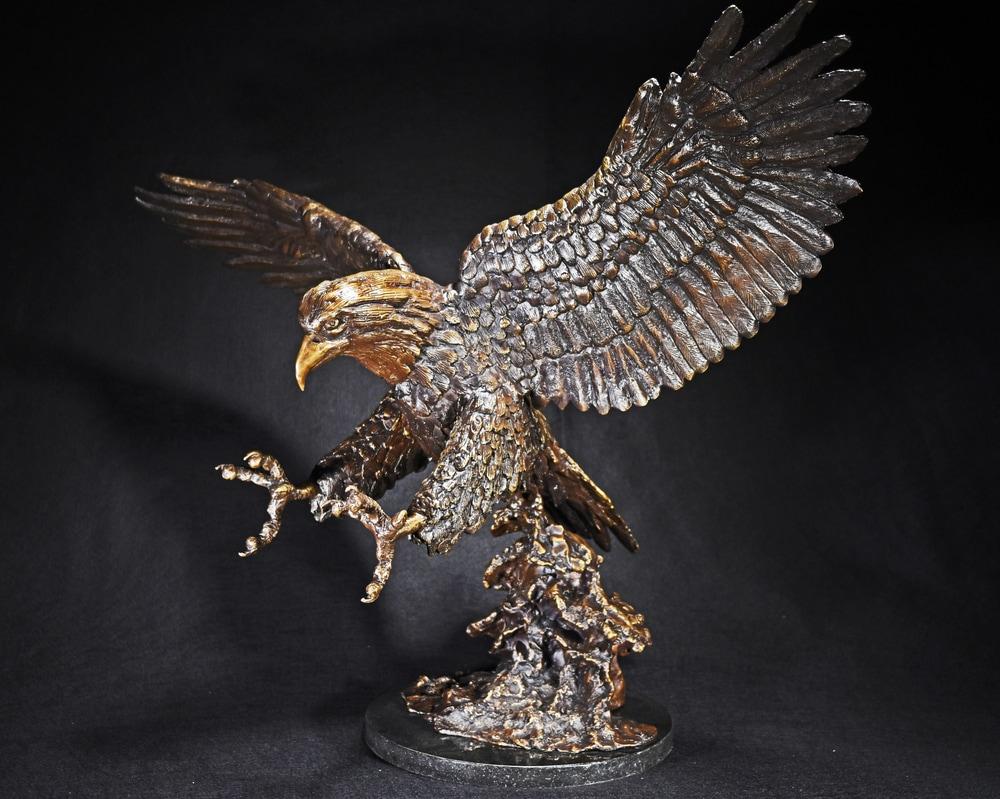 On Eagle's Wings - Cast Bronze Sculpture by Eduardo Gomez