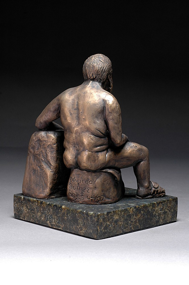 Frankly Frank - Cast bronze sculpture of a male nude - rear