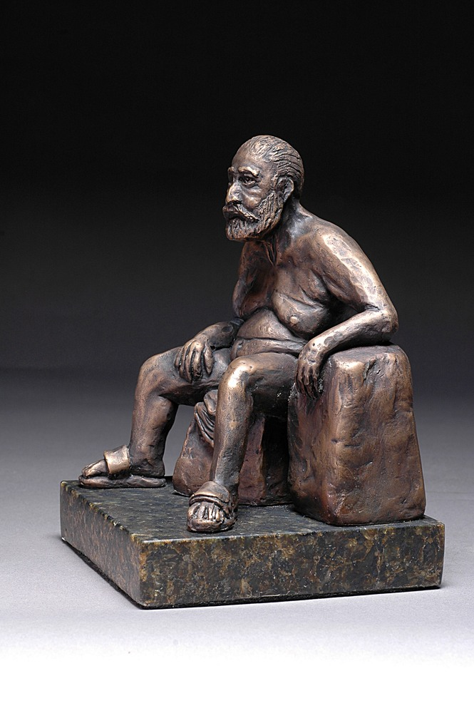 Frankly Frank - Cast bronze sculpture of a male nude - left
