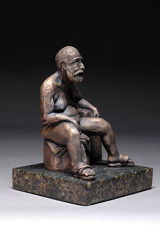 Frankly Frank - Cast bronze sculpture of a male nude - right side
