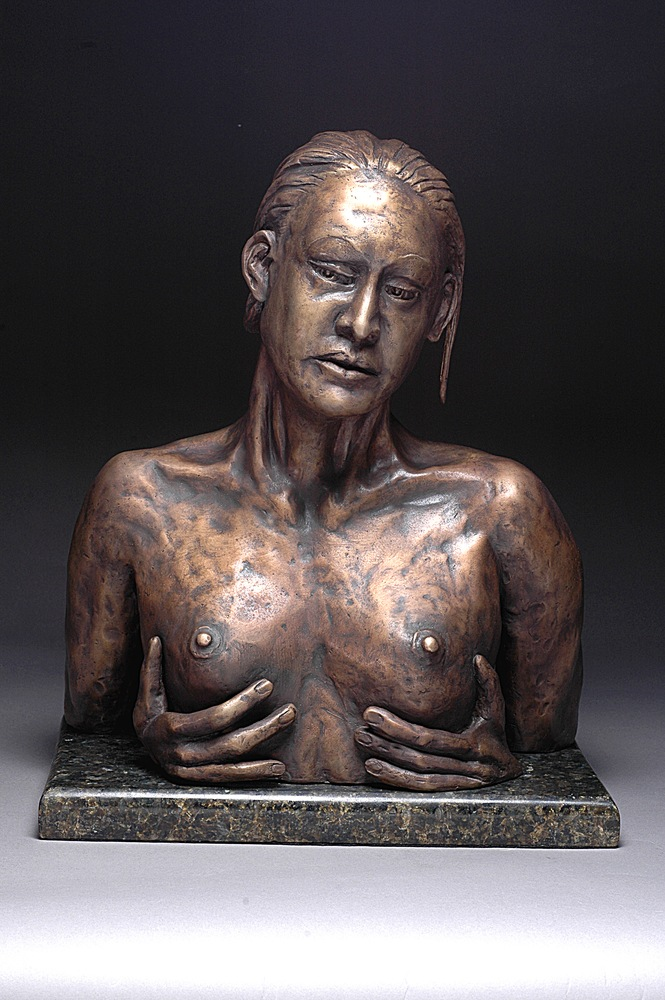 Reflection - Fine Bronze Sculpture of A Woman Looking at her Reflection - front